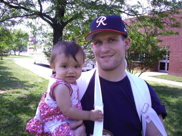 My son at Walter Reed with his daughter after one of many surgeries