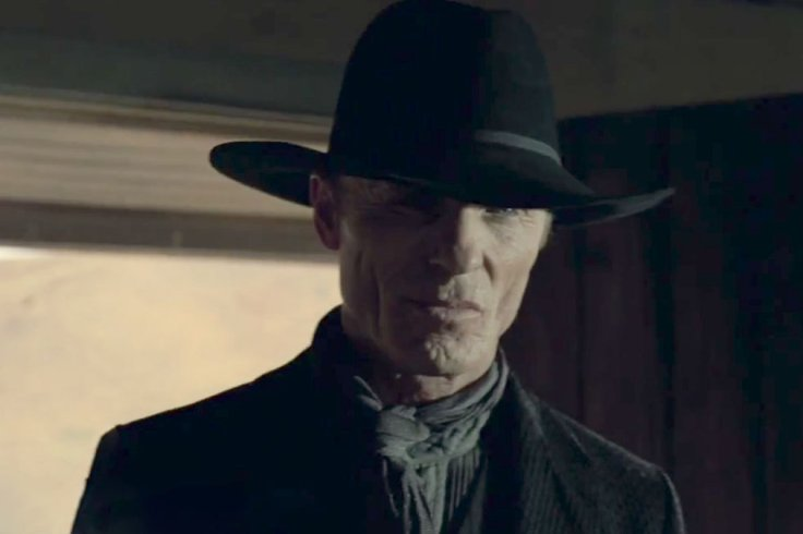 Ed Harris, as the 2016 ston- faced gunslinger.