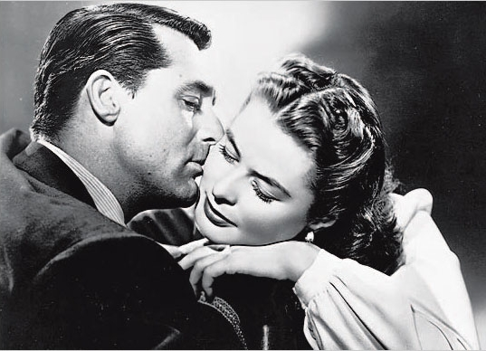 Cary Grant and Ingrid Bergman - kiss from the movie Notorious, by Alfred Hitchcock