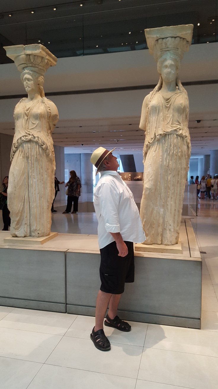Jim looking up at one of the real Caryatids in the Athens Museum. Built in 2009, it's outstanding.