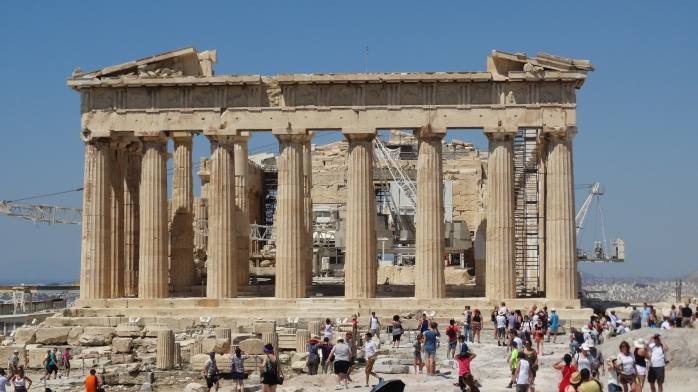 The East facade of the Parthenon is clean. 8x17 columned temple for Athena build in 438 BCE.