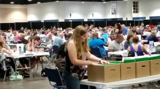 One of several rooms full of teachers grading
